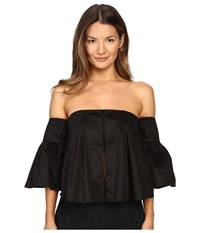 Gabriela Cadena Strapless Cotton Top With Ruffled Sleeves Black