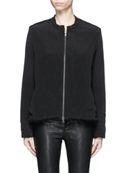 By Walid 'New Classic' Floral Embroidery One Of A Kind Padded Silk Jacket Black
