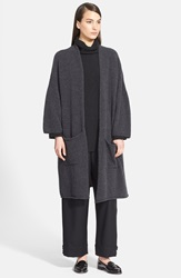 Eskandar Long Lightweight Boucle Cardigan Charcoal