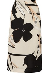 Marni Printed Faille Midi Skirt Peach