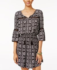 American Rag Printed Peasant Dress Only At Macy's Black Multi
