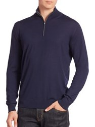 Isaia Wool Zip Front Sweater Navy