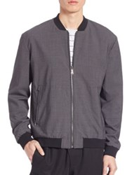 Vince Worsted Wool Reversible Bomber Jacket Heather Steel