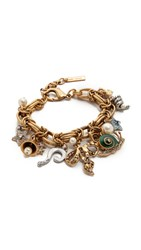 Marc Jacobs Crystal Charm Statement Bracelet Crystal Antique Gold