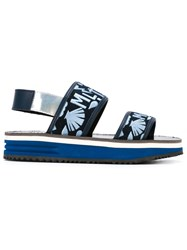 Markus Lupfer Embroidered Strap Sandals Blue