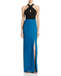 Nicole Miller Gown Techy Crepe Halter Neck Color Block Blue Black