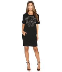 Versace Short Sleeve Gold Printed T Dress Nero
