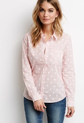 Forever 21 Polka Dot Striped Shirt Red White