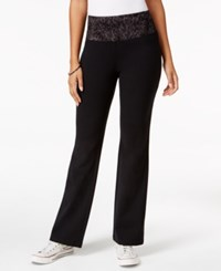 Styleandco. Style Co. Printed Waist Yoga Pants Only At Macy's Deep Black Grey