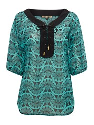 Biba Printed Tie Front Blouse Multi Coloured