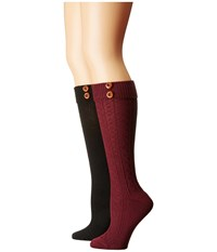 Steve Madden 2 Pack Button Cable Knee High Burgundy Black Women's Knee High Socks Shoes