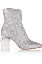 Maison Martin Margiela Glittered Leather Ankle Boots Silver
