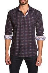Jared Lang Long Sleeve Contrast Trim Semi Fitted Shirt Red