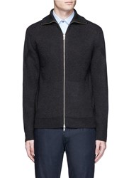 Theory 'Ronzons Fz' Merino Wool Zip Cardigan Grey