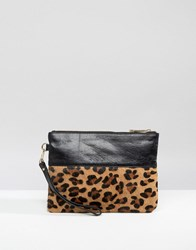 Oasis Leather Patch Detail Clutch Bag Multi