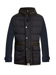 Helbers Leather Panelled Coat Navy