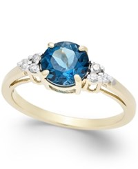 Macy's London Blue Topaz 1 3 4 Ct. T.W. And Diamond Accent Ring In 14K Gold Yellow Gold