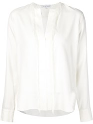 Helmut Lang Frayed Trim Tunic Blouse White