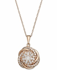 Wrapped In Love Pave Diamond Knot Pendant Necklace In 14K Rose Gold 3 4 Ct. T.W.
