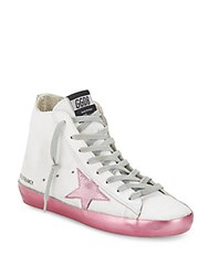 Golden Goose Leather Lace Up Sneakers Pink White