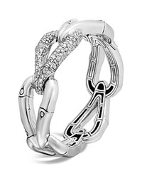 John Hardy Sterling Silver Bamboo Hinged Bangle With Diamonds White Silver