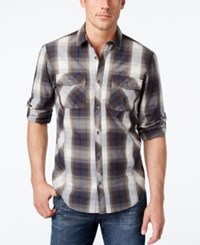 Inc International Concepts Men's Thymine Plaid Long Sleeve Shirt Only At Macy's Basic Navy