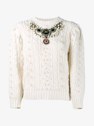Gucci Chunky Knit With Pearl And Crystal Embellishment White Multi Coloured Pearl