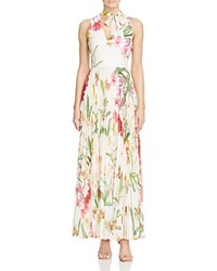 Karen Millen Atelier Orchid Print Pleated Maxi Dress Multicolour