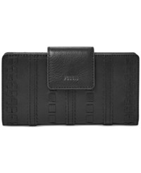 Fossil Emma Rfid Leather Tab Clutch Wallet Black