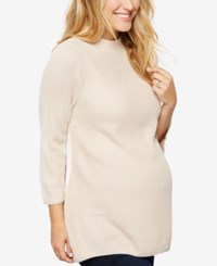 Design History Maternity Three Quarter Sleeve Sweater Oat