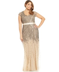 Adrianna Papell Plus Size Cap Sleeve Beaded Sequined Gown