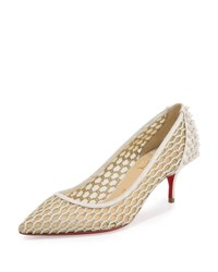 Christian Louboutin Guni Low Heel Red Sole Pump Beige White