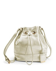 Kenneth Cole Nevins Metallic Leather Small Bucket Bag Gold