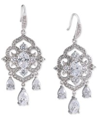 Carolee Silver Tone Blue And Clear Crystal Chandelier Earrings White
