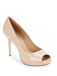 Saks Fifth Avenue Glossy Peep Toe Pumps Nude