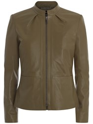 Jaeger Funnel Neck Leather Jacket Khaki