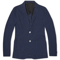 Edifice Seersucker Gingham 2 Button Blazer Blue Check