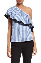 Milly Women's One Shoulder Cotton And Silk Top