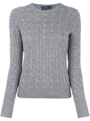 Polo Ralph Lauren Cable Knit V Neck Jumper Grey