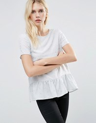 Pieces Wagna Peplum Hem Top Quiet Grey
