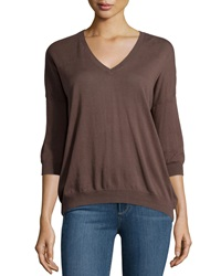 Minnie Rose Long Sleeve Cotton V Neck Everyday Top French Gre