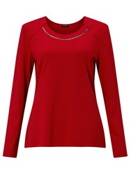 Gerry Weber Embellished Jersey Top Red