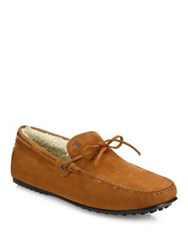 Tod's Suede Boat Shoes Caramel