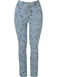 Amapo Floral Embroidered Skinny Jeans Blue