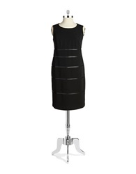 Nipon Boutique Plus Leatherette Sheath Dress Black