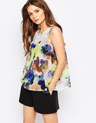 Girls On Film Sleeveless Top In Blurred Floral Print Multi