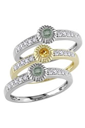 10K Gold Two Tone Yellow And Green Sapphire And Diamond Ring Set Multi