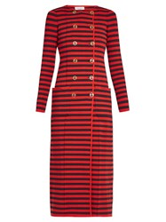 Sonia Rykiel Double Breasted Striped Knit Cardigan Coat Red