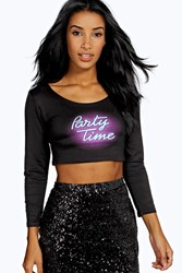 Boohoo Lucy Party Time Graphic Tee Black