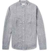 Club Monaco Slim Fit Grandad Collar Melange Slub Linen Shirt Blue